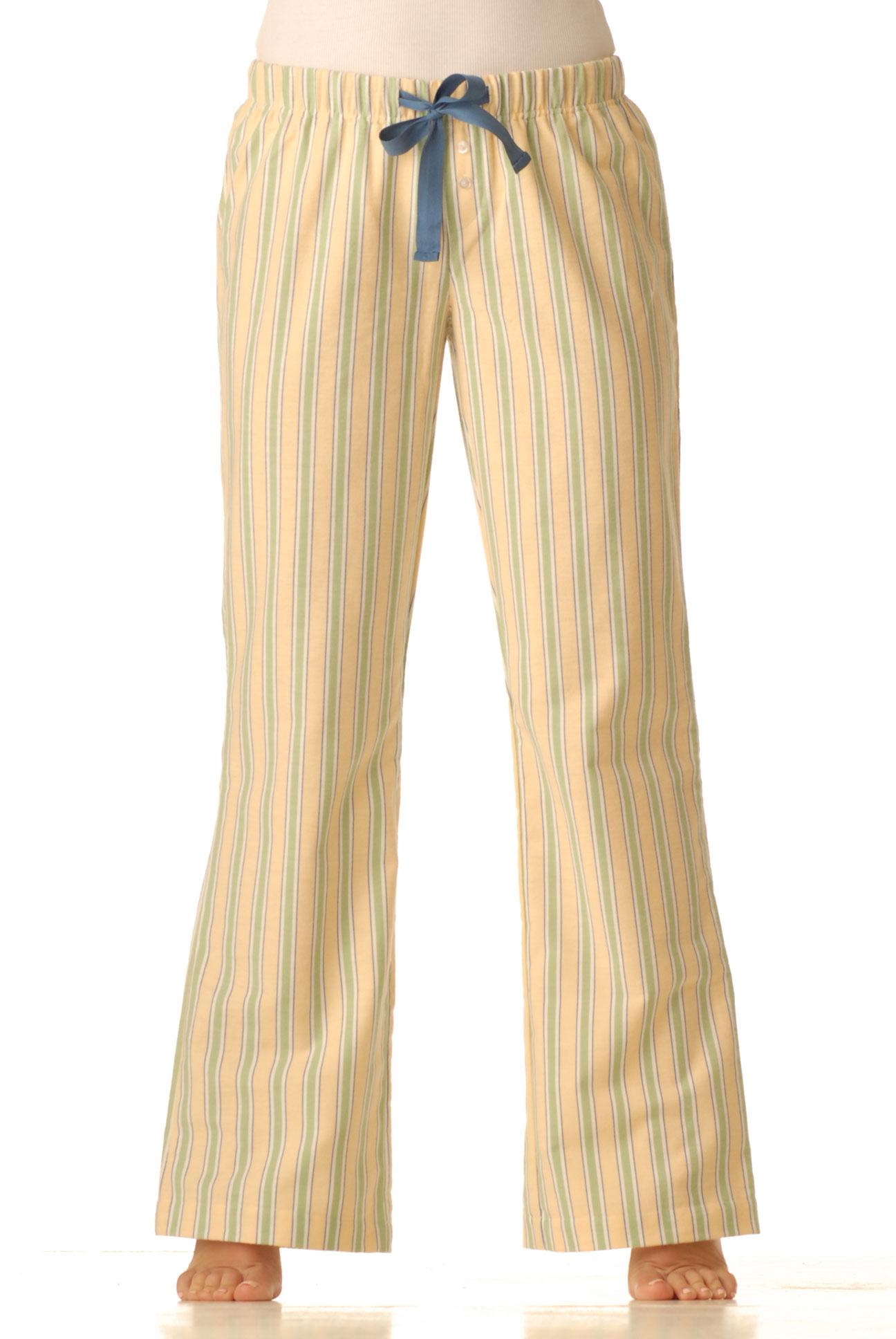 Pyžamové kalhoty flanelové - žlutý proužek